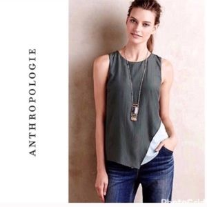 ANTHROPLOGIE BORDEAUX SPLIT TONE TANK IN GREEN